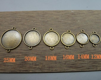 12mm,13mm,16mm,18mm,20mm,25mm Antique Bronze Round Cameo Cabochon Base Settings Connector Collection  (one side)