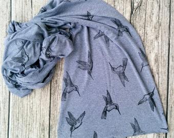 Hummingbird Scarf, Bamboo scarf, Organic Cotton scarf, Jersey scarf, long scarf, hand printed with original art block print, bird print gift