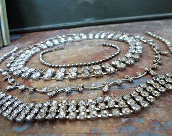Rhinestone Creativity Lot / Collection of Vintage Jewelry / Altered Art or Assemblage Pieces / Old Rhinestones (D1)