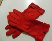 Vintage RED Gloves, Bow detail Edge