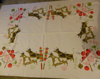 Tammis Keefe USDA Cows Tablecloth, Larger Sized Tablecloth
