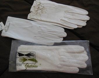 Vintage Kid-Skin/Leather Gloves, Bows, Flowers Details, Group of 3 Pair