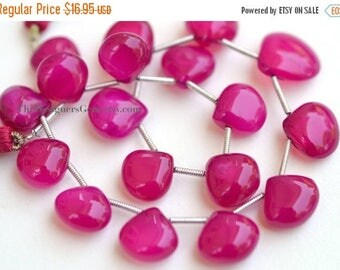 SALE Raspberry Pink Chalcedony Smooth Polish Heart Briolettes 8 to 10mm- 1/2 STRAND