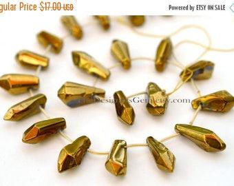 SALE Rough Cut Dark Gold Coated Crystal Quartz Top Drilled Briolette Sticks 23 x 8mm -1/2 Strand