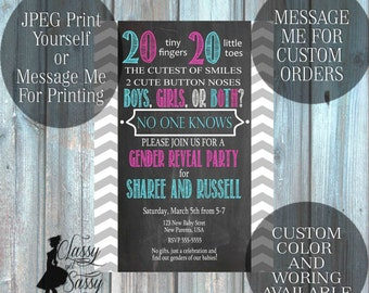 Twins Gender Reveal Invitation, Twins Invitation, Twins Baby Reveal 118