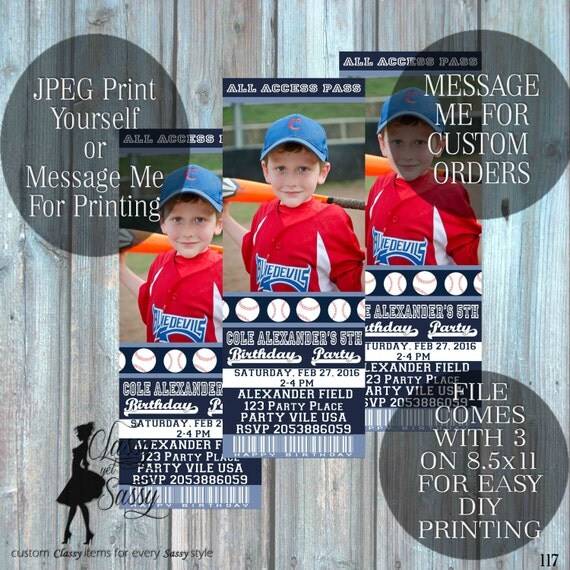 Baseball invitation - baseball birthday invite- baseball ticket invitation - boys invitation - DIY Printable invitation-117