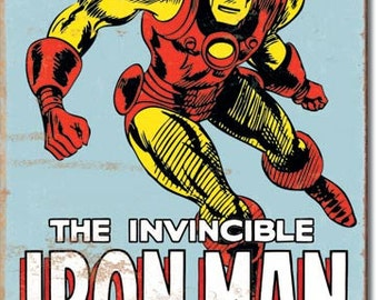 Vintage Style Tin Sign,Iron Man retro. Marvel comics, collectible tin sign, man cave, kids room, garage decor, wall hanging