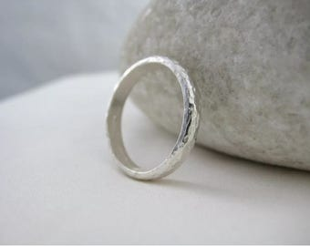 Sterling Silver Sparkly Hammered Ring Size 0 - Designed And Handmade By CMcB Jewellery UK