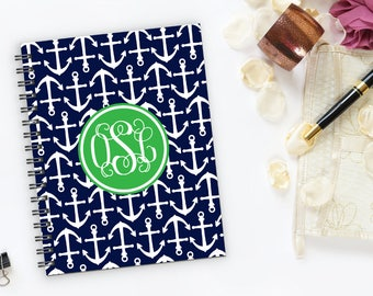 Personalized/ Custom Notebook- Preppy Nautical Anchor Notebook with Monogram- 100 sheets