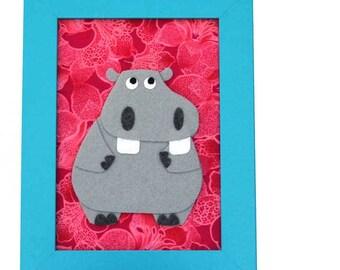 Felt Animal - Hippo -  Kids Room Wall Art - 5 x 7 - Zoo Animal