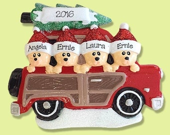 Belly Bear Family of 4 in Woody Wagon Hand Painted RESIN Personalized Christmas Ornament