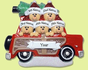 Belly Bear Family of 5 in Woody Wagon - Hand Painted RESIN Personalized Christmas Ornament