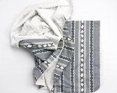 Tribal Minky blanket AZTEC navy blue- minky swaddle blanket- baby shower gift- lightweight blanket- modern baby bedding - tribal nursery