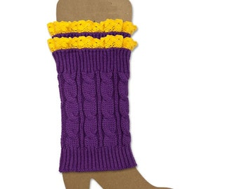 Crochet and Lace Boot Cuffs or matching gloves or key chain Purple/Yellow Gold Boot socks, boot cuffs