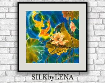GICLEE Art Print koi fish painting lotus flower art wall art print silk painting