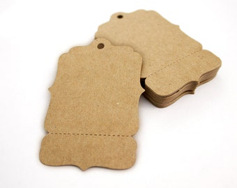 "150 Large Perforated Hang Tags, Kraft 4"" x 2.625"" Blank Price Tags, Unique Boutique Swing Tags,  Coat Check, Gift Tags, bracket hangtags"