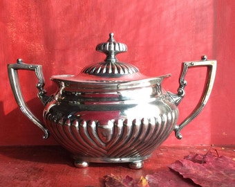 Vintage English Sterling Silver Georgian Sugar Bowl/Tureen- MidCentury Classical Design-Heavy English Silverplate