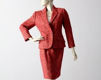 vintage Bill Blass women's suit, tweed blazer and pencil skirt