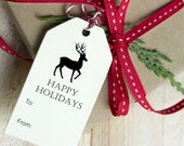 Holiday Gift Tags with Twine, Gift Wrapping, Happy Holidays, Deer - Set of 12, 1.5 x 3 inches