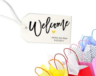 """Welcome Tag, Destination Wedding Favors, Personalized Tags for Gift Bags, Wedding Weekend - Size 2"""" x 3.5"""" Set of 25, MADI"""