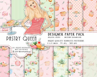 Pastry Queen Paper Pack Cupcakes Macaroons Donuts Fashion Patterns Bridal shower Wedding Invitation Watercolor Backgrounds Planner Supplies