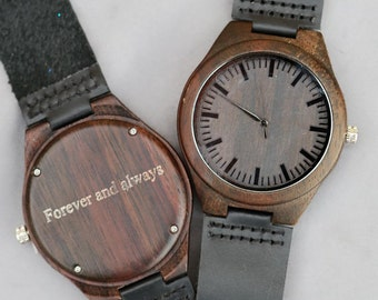 Wooden Watch Wood Watch,Personalized Engraved Men's Wood Wooden Watch,Groomsmen Gifts, Wedding Gifts, Anniversary Gifts, Father's Day Gifts