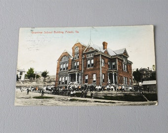 Vintage 1911 Postcard Pulaski VA Grammar School Building Color