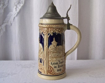 Vintage Beer Stein Made in Germany Lindenwirtin Stein Pictorial Maiden Serving A Traveler A Fresh Beer Gift For Dad 1930s