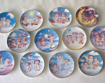 Vintage Dreamsicles Mini Plate Collection 1996 Set of 12 Kristin Hayes Hamilton Angel Collection 18K Gold Trim Nursery Wall Decor Cherubs