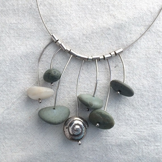 Green Beach Pebble and Silver Necklace