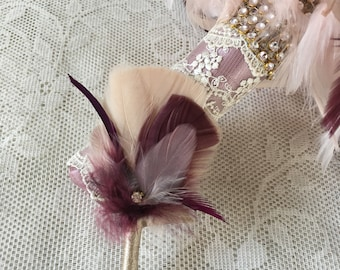 Boutonniere,Groom boutonniere,Feather boutonniere,Gatsby wedding,Lapel flower, boutinere,Wedding accessory,Groomsmen boutonniere,MANY COLORS