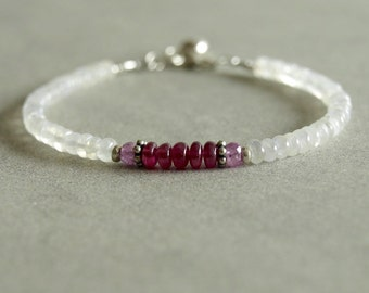 Ruby moonstone bracelet, pink sapphire, sterling heart charm, sterling beads genuine African rubies, moonstone gift for her red ruby jewelry