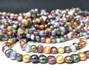 SALE 5 to 6 mm Freshwater Pearl Nugget Beads Multi Colors Mix Colors - Spring Color Project 15 Inch strand (G4808NW15Q5)