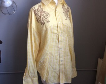 Vintage Yellow Gingham Western Cowboy Shirt Embroidered Square Dancing Motif Horseshoe and Star Snap Rockmount Ranch Wear