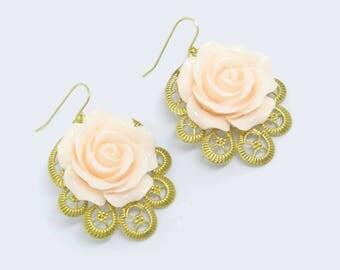 Peach Rose Brass Filigree Earrings