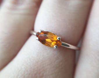 Marquise Faceted Citrine Ring - sterling silver citrine ring - faceted citrine ring - citrine engagement ring - marquise stone ring