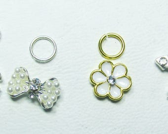 Nail Dangles: CC, Bow, Flower and Cross with Tiny Faux Pearls and Rhinestones 9 A