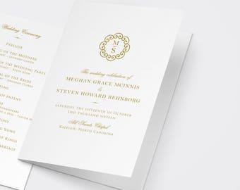 Gold Wedding Program, Printable Program, Gold Program, Order of Service, Ceremony Program, Catholic Program, Catholic Wedding
