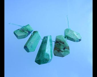 Green Turquoise Gemstone Faceted Pendant Bead Set,32x16x11mm,20x11x8mm,21.7g(b0443)
