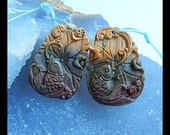 Carved Multi-Color Picasso Jasper Fish Gemstone Earring Bead,33x24x6mm,15.34g