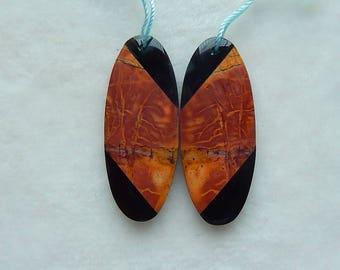 New,Multi-Color Picasso Jasper,Obsidian Intarsia Earring Bead,39x16x4mm,7.0g