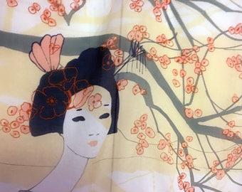 Geisha Scarf, Silk Scarf, Geisha Fabric