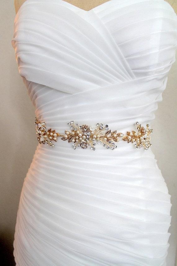 15 gold or gold leaf vine wedding dress belt boho