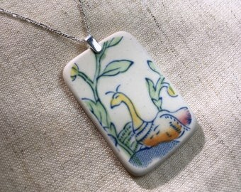 Tumbled China Pendant and Chain - home-made sea pottery, sterling silver, Mason's Regency - Tumbleworn