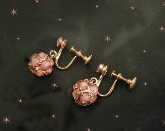 Short Dangle Earrings, Little Pink Dangles, Short Pink Earrings, 50s Screwbacks, Little Pink Earrings, PIERCED Option, CLIP Back Option