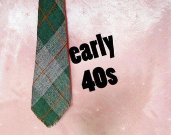 Men's Vintage 1940s Plaid Wool Necktie - Green Tartan 40s Tie - Burro Weavers