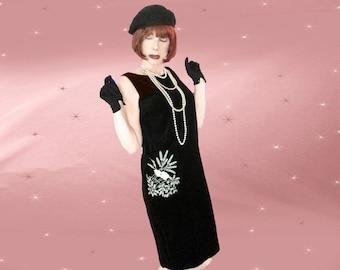 Black Velvet Shift - 60s MOD Velvet Jumper Dress - 60s Velveteen Shift - Black Jumper Dress - Womens Retro Shift - Vintage Mod Jumper Dress