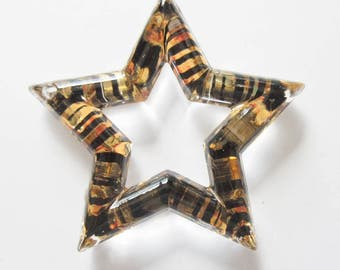 Black and Gold Striped Star Charms