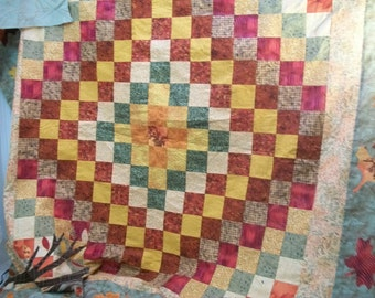 Craft Supply, Finished Quilt Top, Top Only, Ready For Quilting Top, Round the World Quilt Pattern, Fall Color Quilt Top, Sewing Supplies