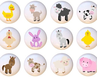 Set Of 12 New Farm Animals By PP Animal Ceramic Drawer Pull Cabinet Knobs